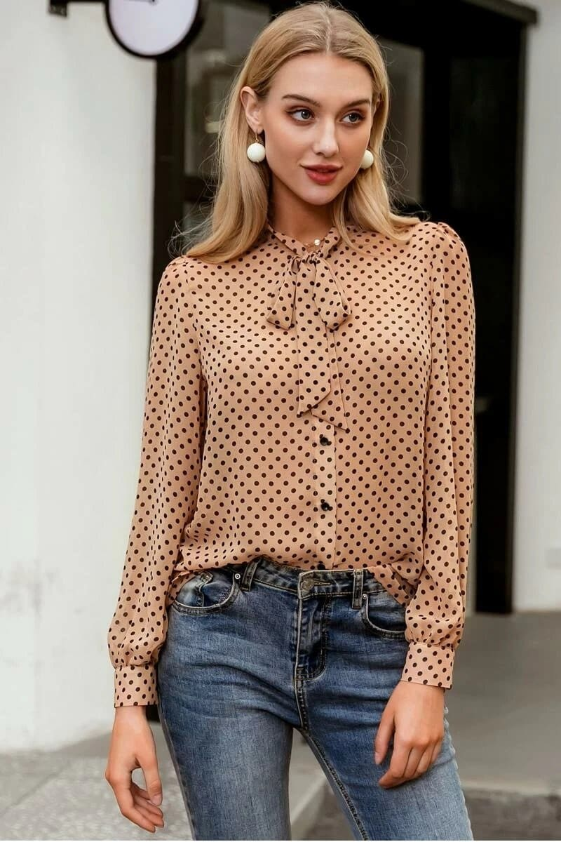 Nude Tie-Neck Polka Dotted Blouse