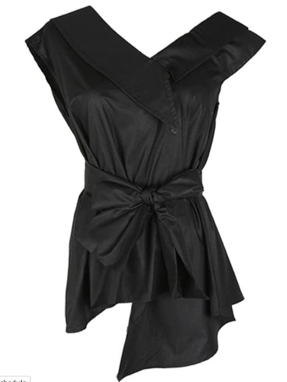 Off Shoulder Irregular Blouse (3 Colors) - Black / One Size