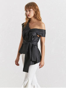 Off Shoulder Irregular Blouse (3 Colors)
