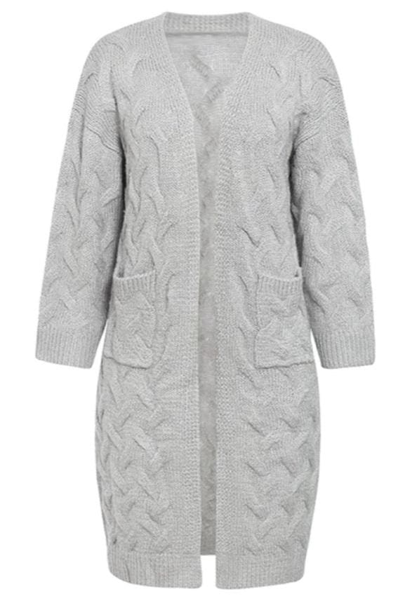 Open-Front Longline Cardigan (2∙Colors) - Gray / S