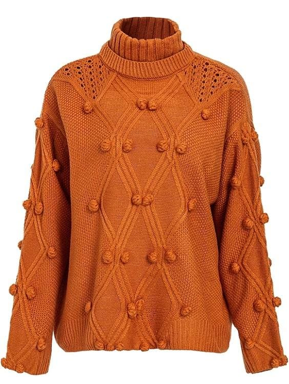 Orange Oversized Pom Pom Sweater - One Size
