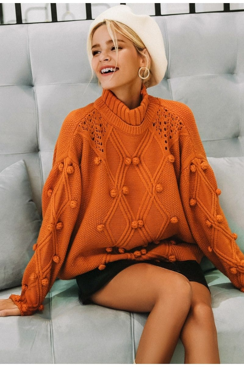 Orange Oversized Pom Pom Sweater