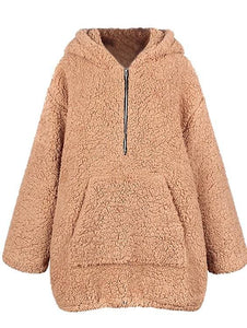 Oversized Faux Fur Hooded Teddy Jacket (2 Colors) - Light Camel / S