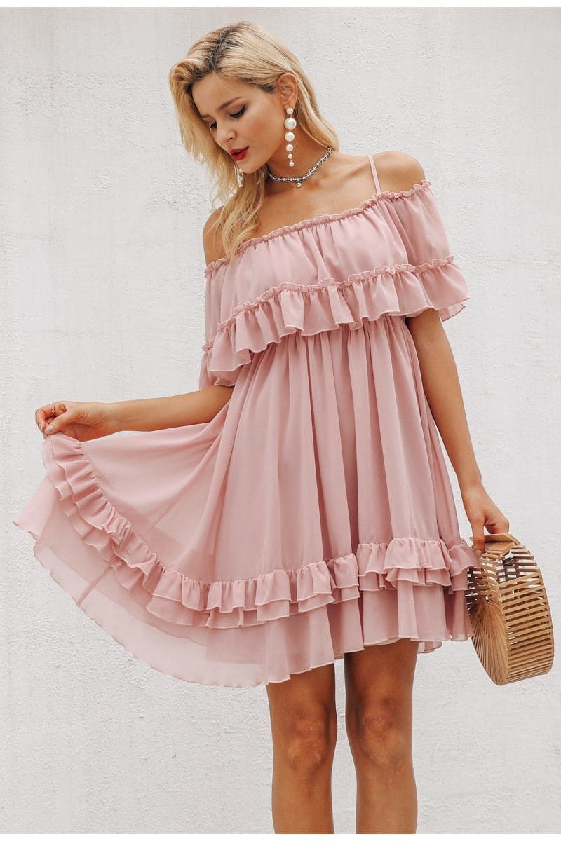Pastel Ruffle Chiffon Mini Dress (3Colors)