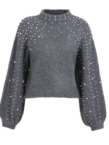 Pearls Beading Knitted Crop Sweater