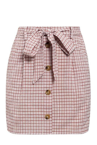 Pink Bow Tie Plaid Mini Skirt
