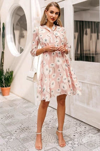 Pink Floral Tie Neck Mini Dress