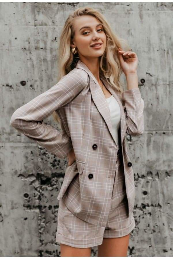Plaid Double Button Blazer & Shorts Set