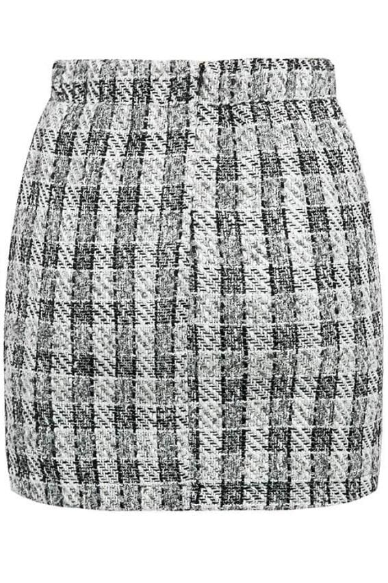 Plaid Double Button Tweed Skirt