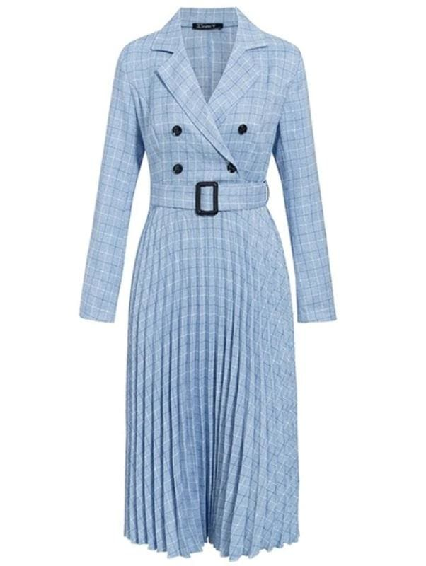 Plaid Pleated Midi Dress (3 Colors) - Blue / L