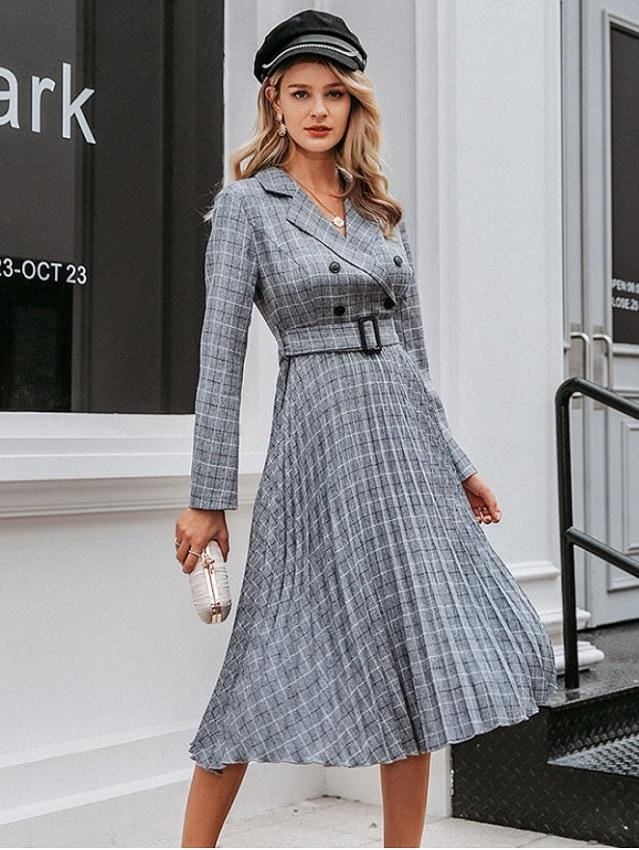 Plaid Pleated Midi Dress (3 Colors)
