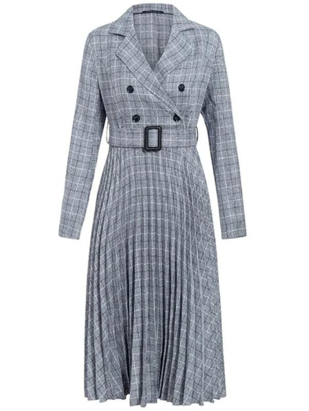 Plaid Pleated Midi Dress (3 Colors) - Gray / S