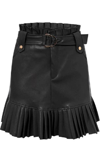Pleated Faux Leather Mini Skirt (2Colors) - XS / Black