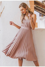 Powder Pink Pleated Midi Dress