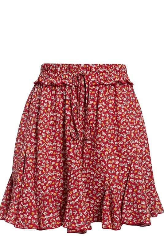Red Flounce Floral Mini Skirt