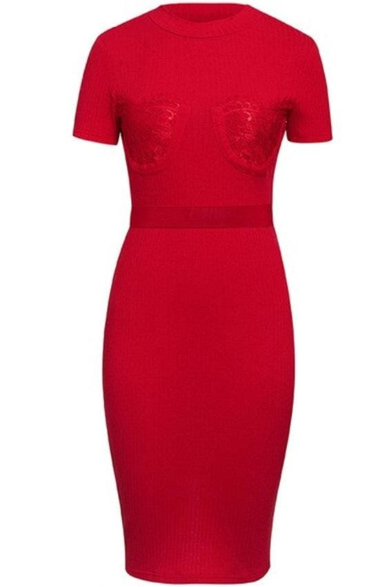 Red Lace Bustier Rib-knit Bodycon Midi Dress