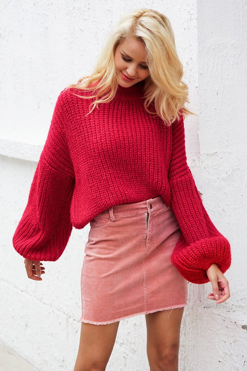 Red Oversized Crop Sweater