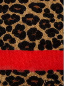 Red Stripe Leopard Scarf