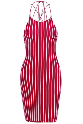 Red Striped Backless Lace Up Bodycon Mini Dress