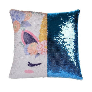 Reversible Sequins Color Changing Unicorn Pillow Case - Blue