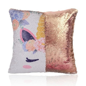 Reversible Sequins Color Changing Unicorn Pillow Case - Gold