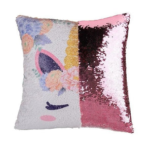 Reversible Sequins Color Changing Unicorn Pillow Case - Pink