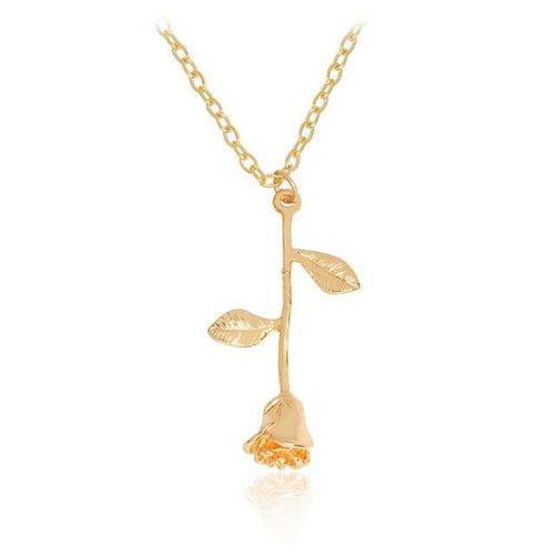 Rose Pendant Necklace - Gold