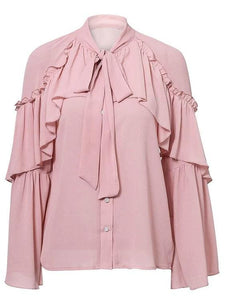 Ruffle Long Sleeve Chiffon Blouse (2Colors) - Nude Pink / S