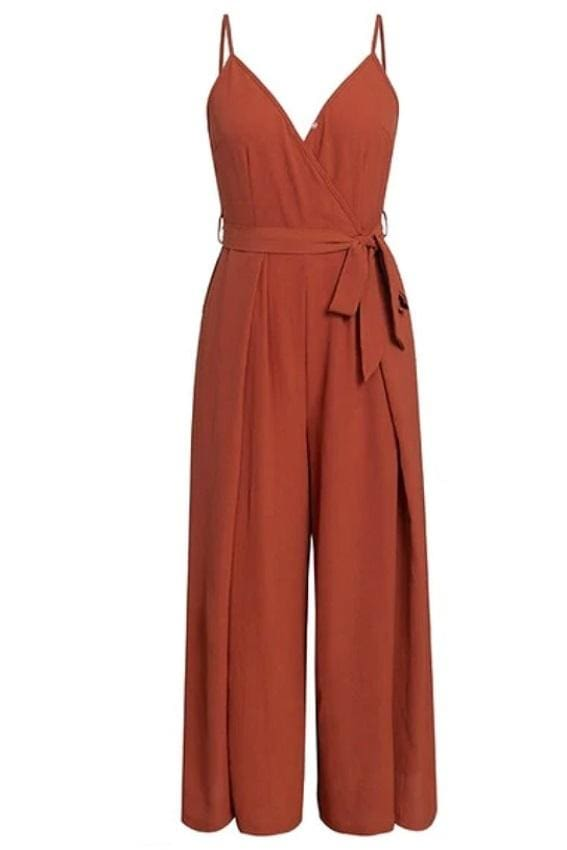 Rusty Red Wide-Leg Jumpsuit