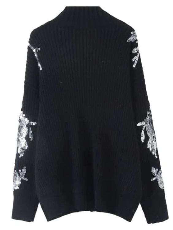 Sequined Knitted Turtleneck Sweater