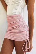 Side Drawstring Ruched Mini Skirt