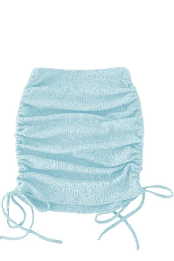 Side Drawstring Ruched Mini Skirt - S / Baby Blue