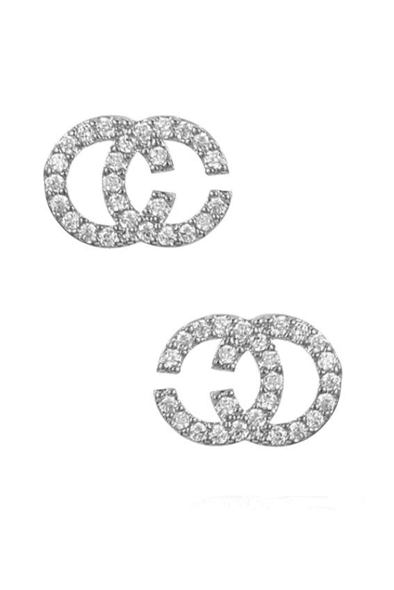 Silver CC Earrings - Double Crystal