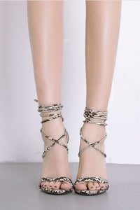 Snake Print Lace-Up Stilettos