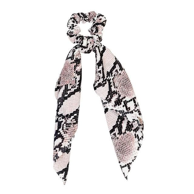 Snake Print Long Tail Scrunchie (2 Colors) - 4