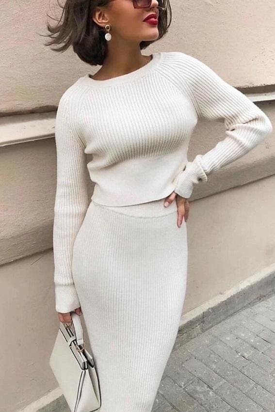 Solid Two-Piece Knit Set