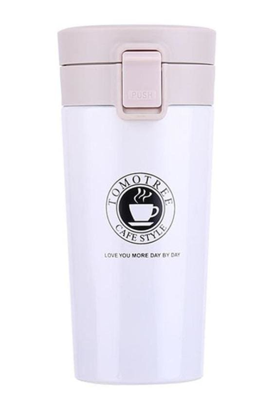 Stainless Steel Thermo Coffee Cup (5 Colors) - White