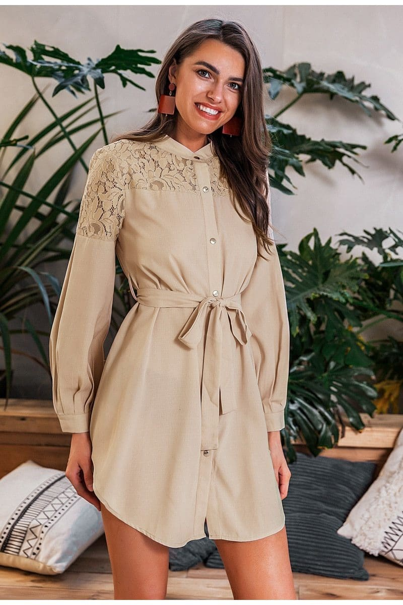 Stone Long Sleeve Belted Shirt Dress