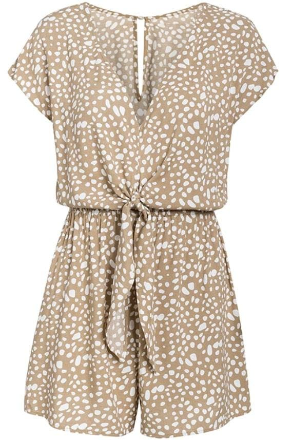 Stone Leopard Front Bow Romper