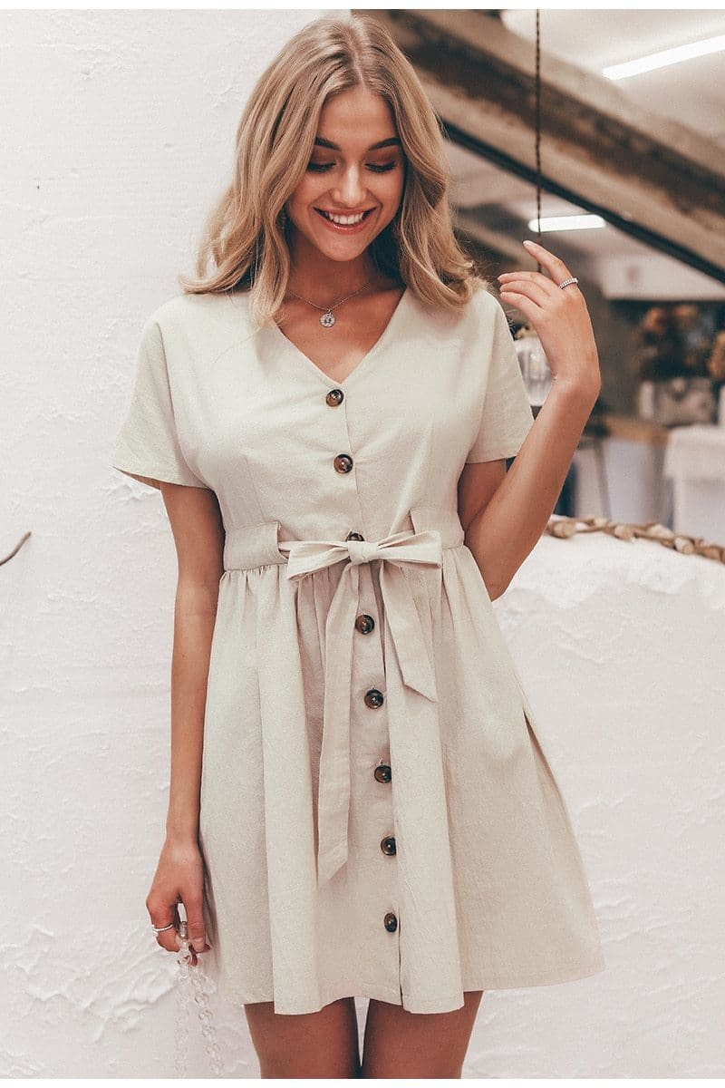 Stone Tie-Waist Button Down Mini Dress