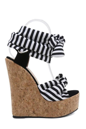 Striped Platform Wedge Sandals
