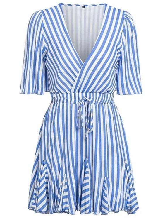 Striped Ruffled Mini Dress - Blue / S