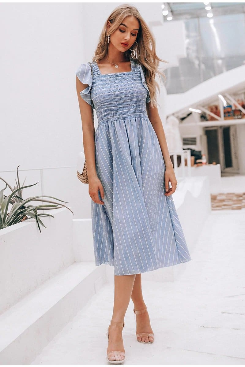 Striped Smocked Bodice Midi Dress