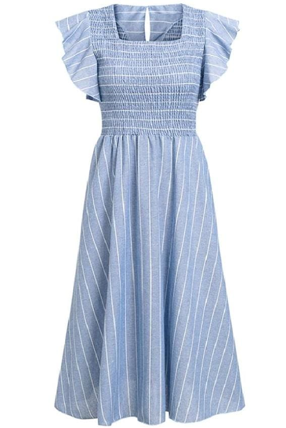 Striped Smocked Bodice Midi Dress - S / Blue