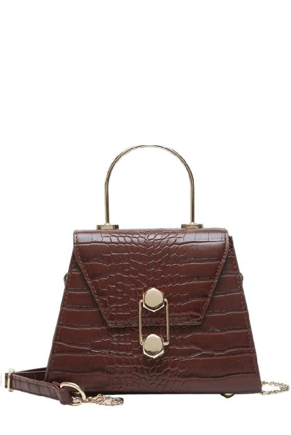 Structured Golden Top Handle Bag