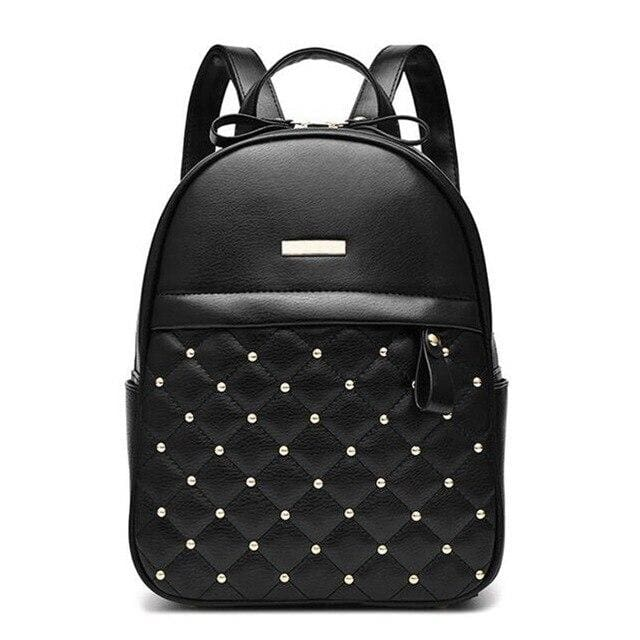 Studded Quilt Front Pocket Backpack (3 Colors) - Black