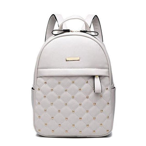 Studded Quilt Front Pocket Backpack (3 Colors) - White