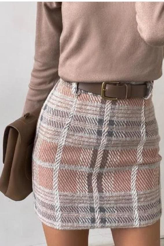 Tartan Tweed Mini Skirt