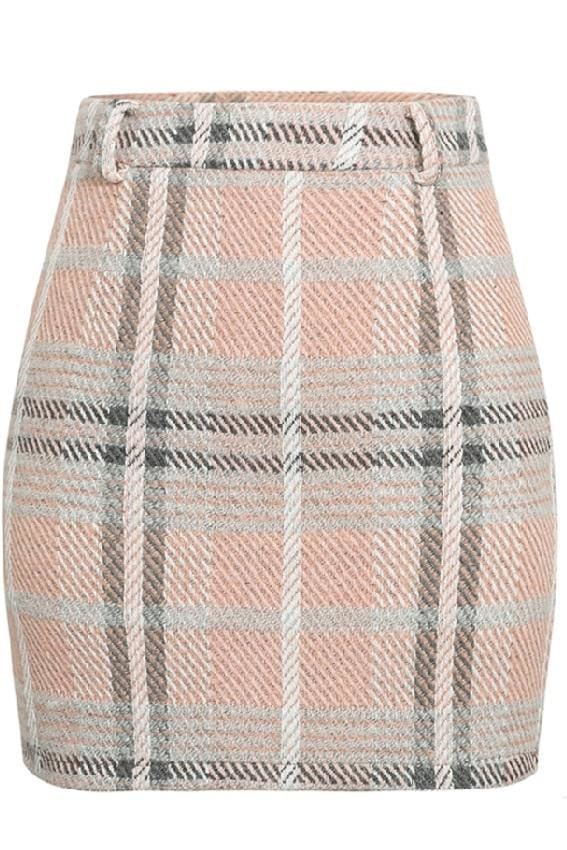High Waist Tweed Mini Skirt