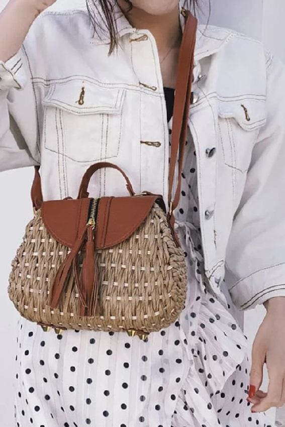 Tassel Embellished Rope Bag